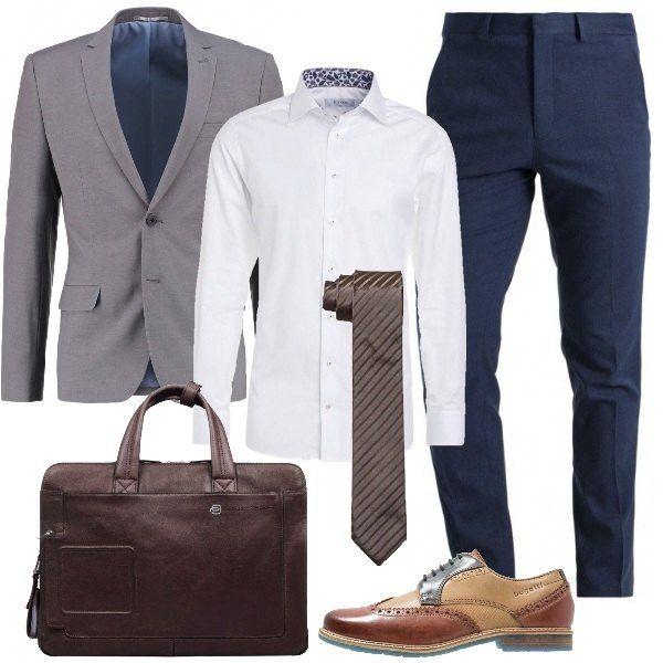 Composto Pantaloni Ufficio Da Look Camicia Slim Splendido E g7pt6aW