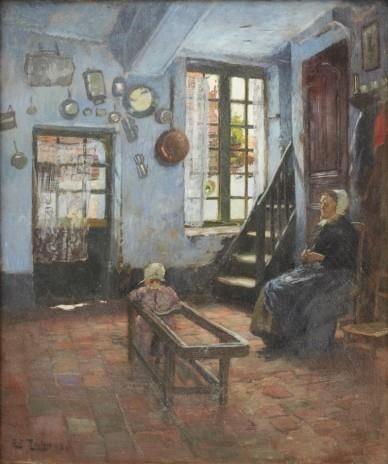 Frits Thaulow - Barnvakten - Interiör med barn och... on MutualArt.com