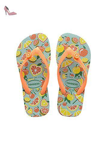 Havaianas Imprimee Tongs Garçon/Fille Fun Blue/Orange-EU :35/36-BR:33/34 - Chaussures havaianas (*Partner-Link)