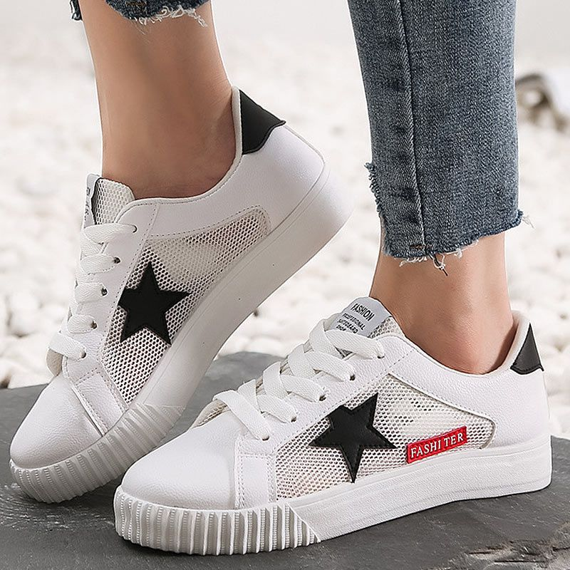 the latest 1868d b34d2 Pink Sneakers Women Vulcanized Shoes Summer Star White ...