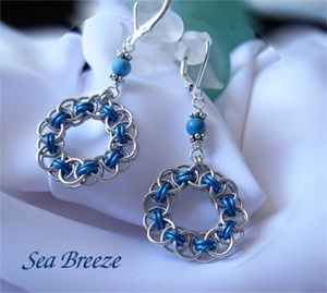 Sea breeze Earrings- Helm-Chain weave with blue Anodized Aluminum and bright aluminum. lever backs are sterling silver