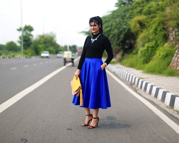 royal-blue-midi-skirt | Skirts | Pinterest | Royal blue