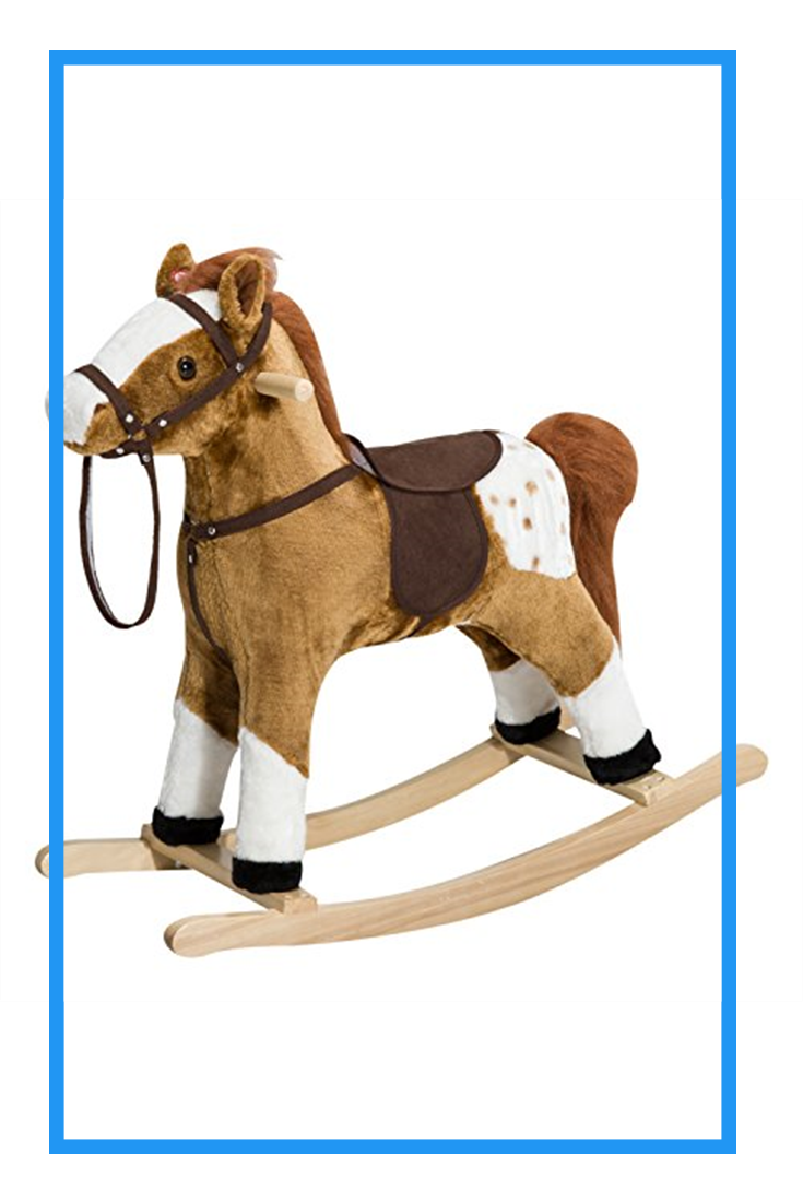 Qaba Kids Plush Toy Rocking Horse Pony With Realistic Sounds