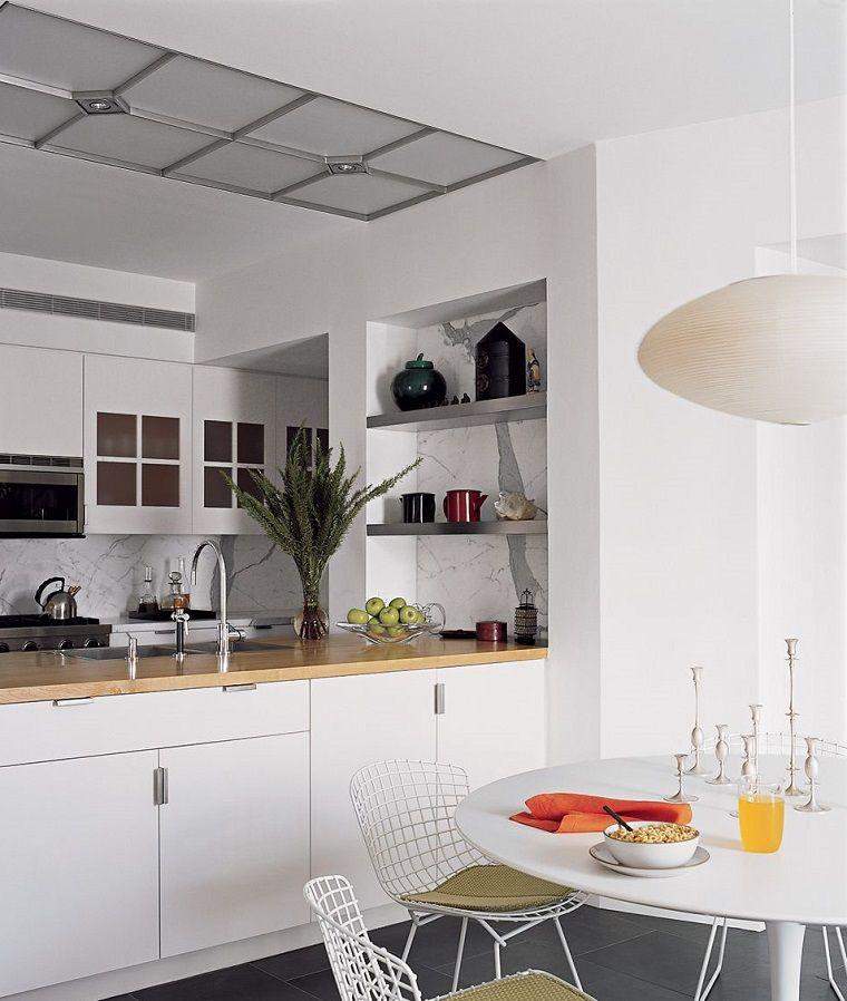 Arredare un open space con mobili di colore bianco, cucina a vista ...