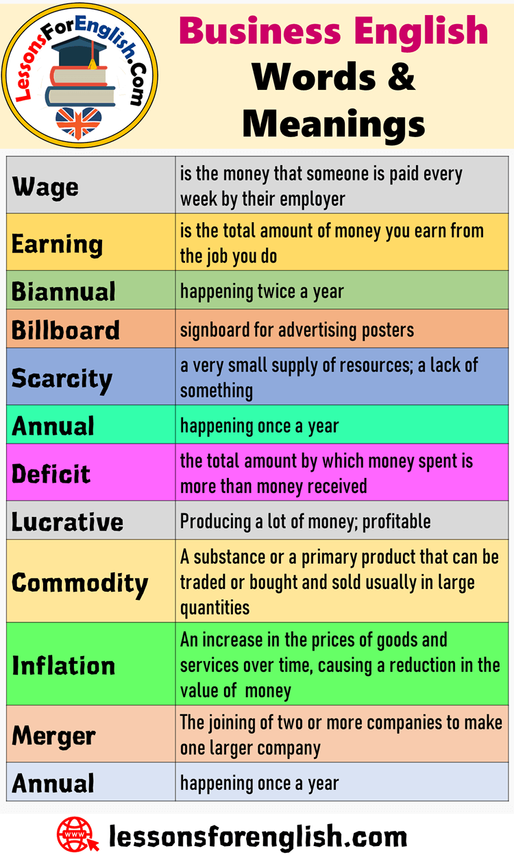 Detailed Busines English Word And Meaning Wage I The Money That Someone Paid Every Week By Their Em Vocabulary Learn New Essay