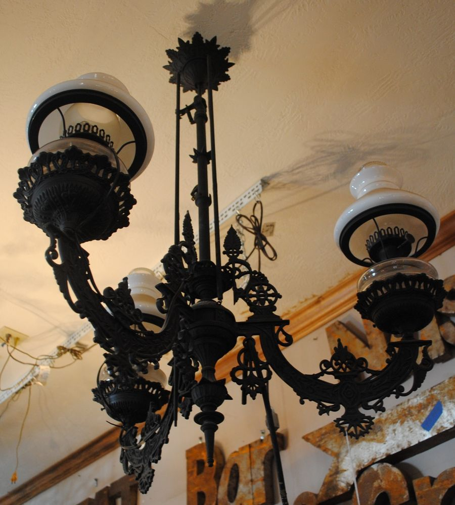 Antique victorian chandelier cast iron kerosene to electric aloadofball Images