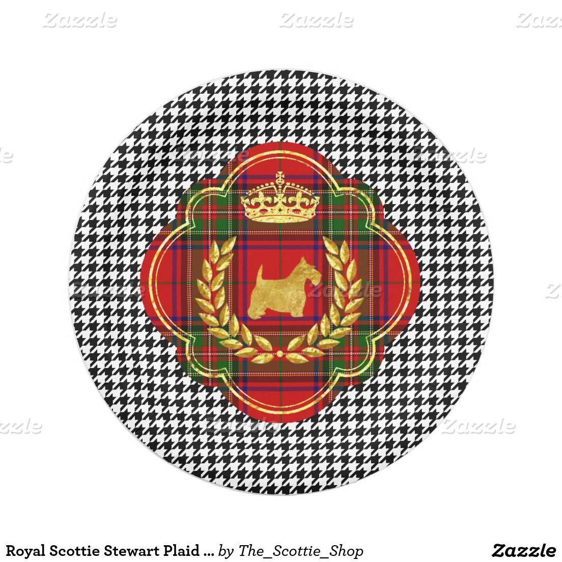Royal Scottie Stewart Plaid Houndstooth 7 Inch Paper Plate