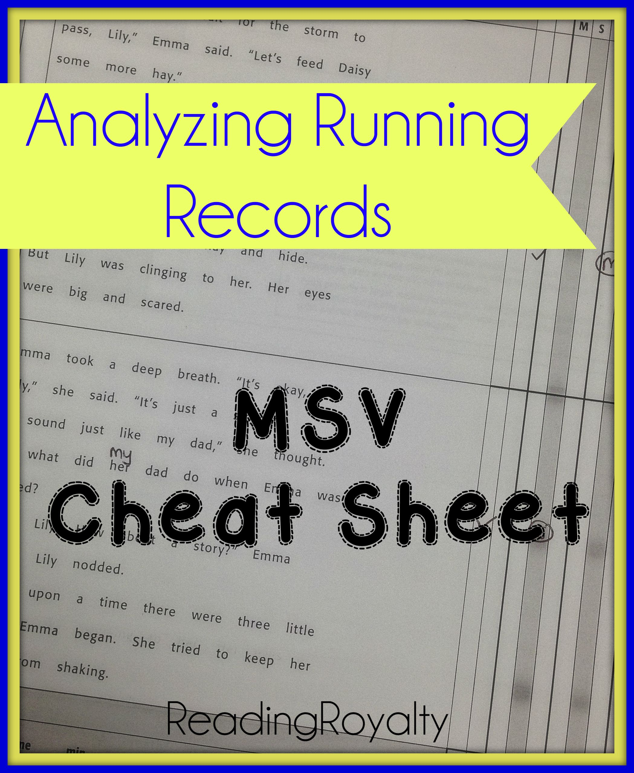 Analyzing Running Records Msv Made Easy With A Freebie