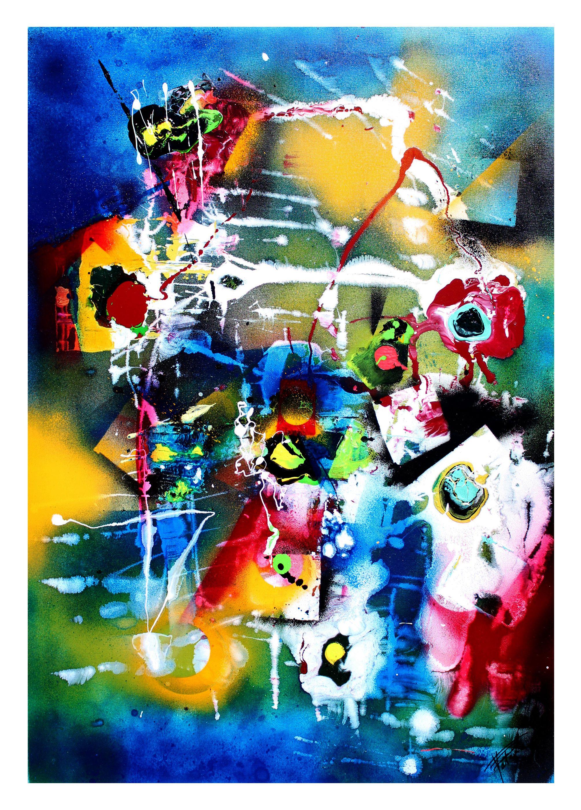 Peinture, Art Abstrait, Technique Bombe, Acrylique, Glycero