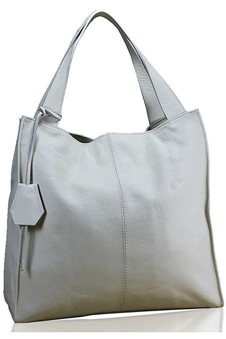 FERETI Damen Schultertasche Leder shopper Beige große tasche