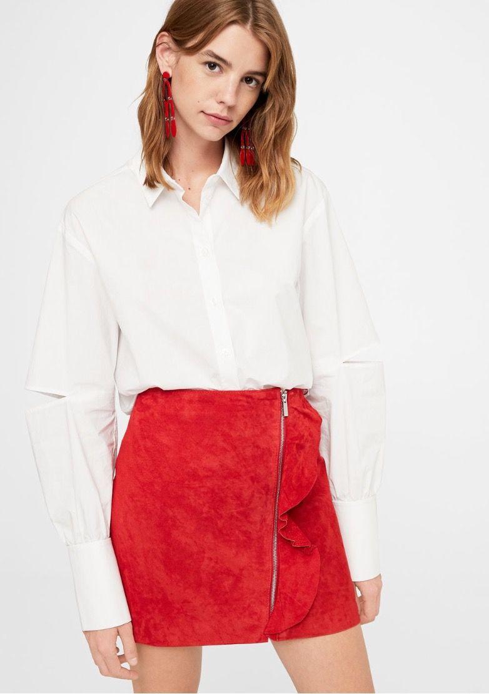 Falda piel volante - Faldas de Mujer  47417ca568fa