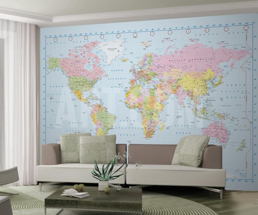 географическая карта мира фотообои настенные