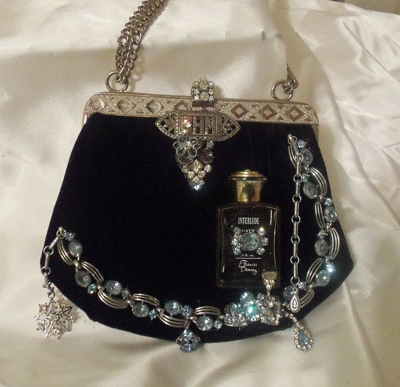 Velvet Black Evening Clutch, Steampunk Elegant Purse, Formal Vintage Couture Cocktail Bag.