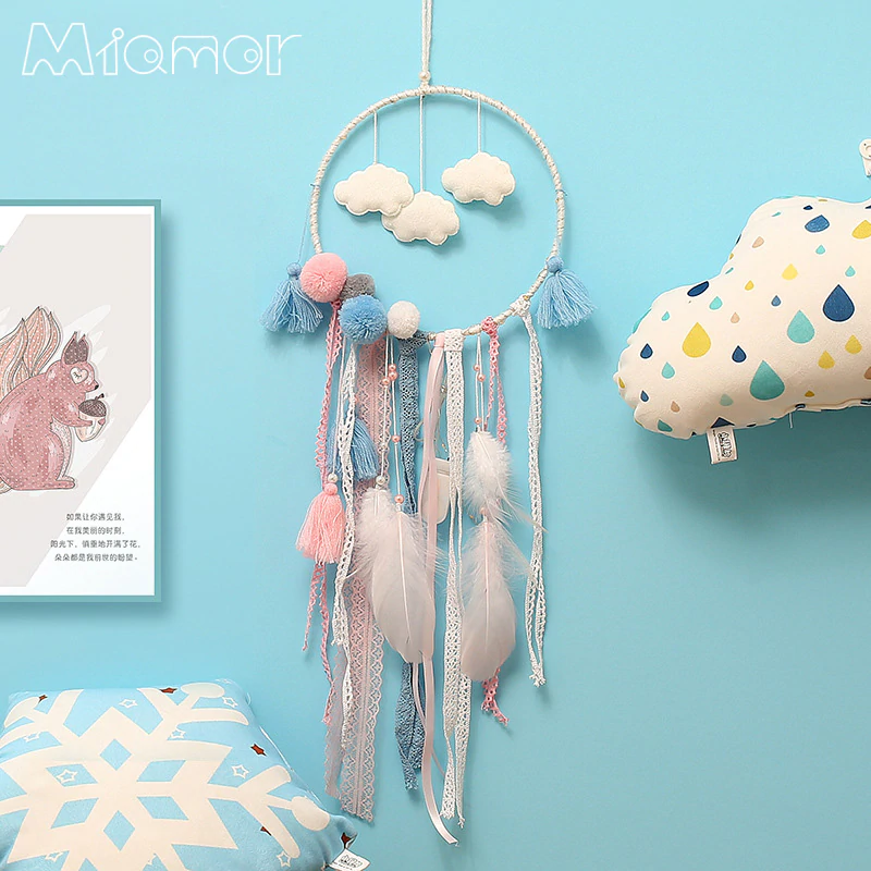 Dreamcatcher With Light Big Lace Dream Catcher with Clouds & Pompom Home Wall Hanging Decor Pendant for Kid's Bedroom AMOR143-in Wind Chimes & Hanging Decorations from Home & Garden on Aliexpress.com | Alibaba Group
