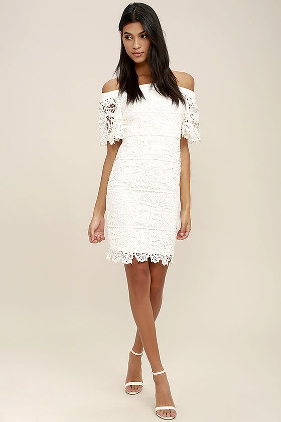 Smoldering love stories start with the A Bit of Romance White Lace Off-the-Shoulder  Midi Dress! Elegant white lace tops a matching knit liner as it forms an ... fea57f4e4ccf