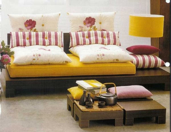 Floor Cushion Platform And Low Tables Floor Cushions Living Room Room Seating Sofa Design