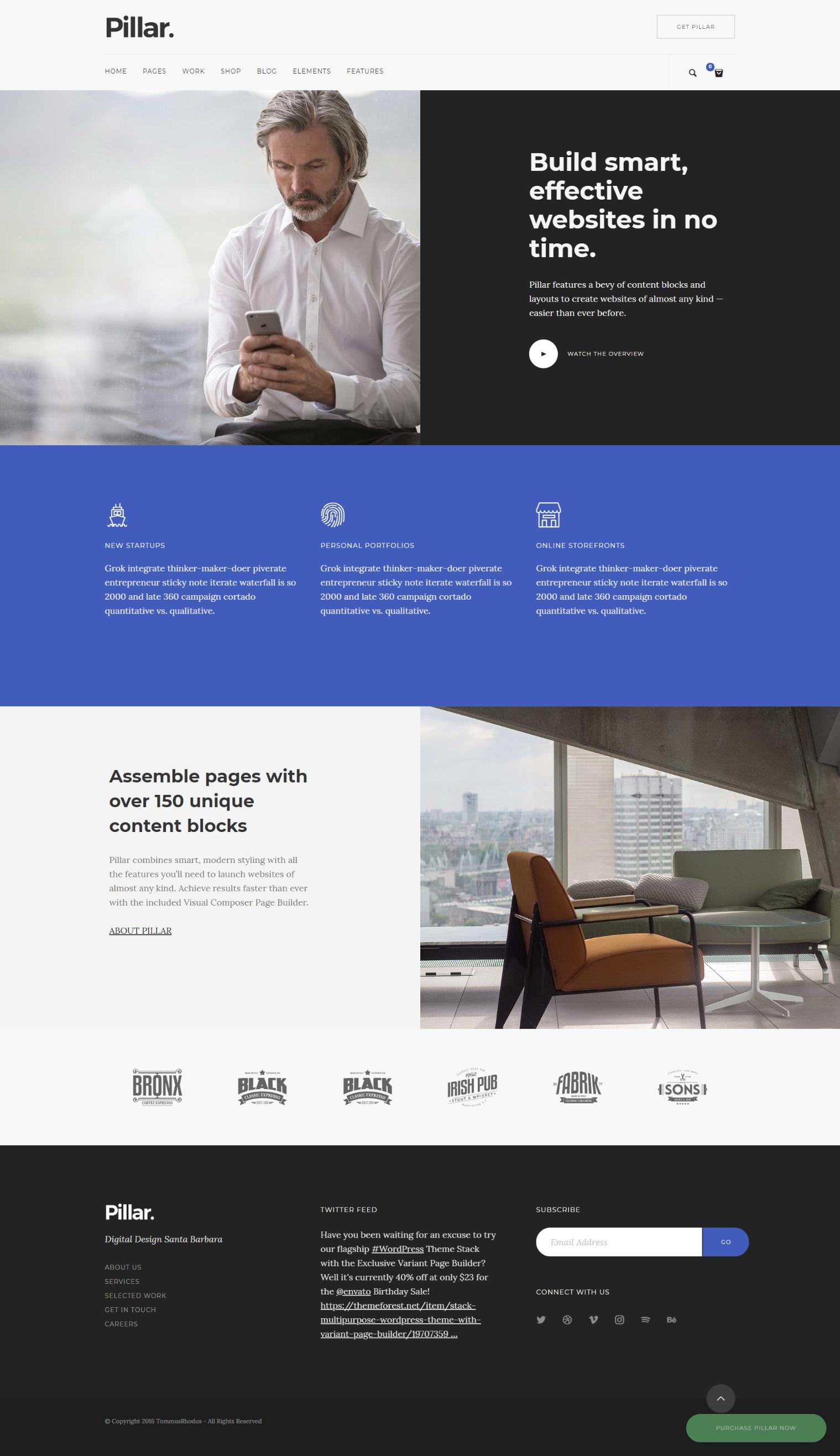pillar resume website template