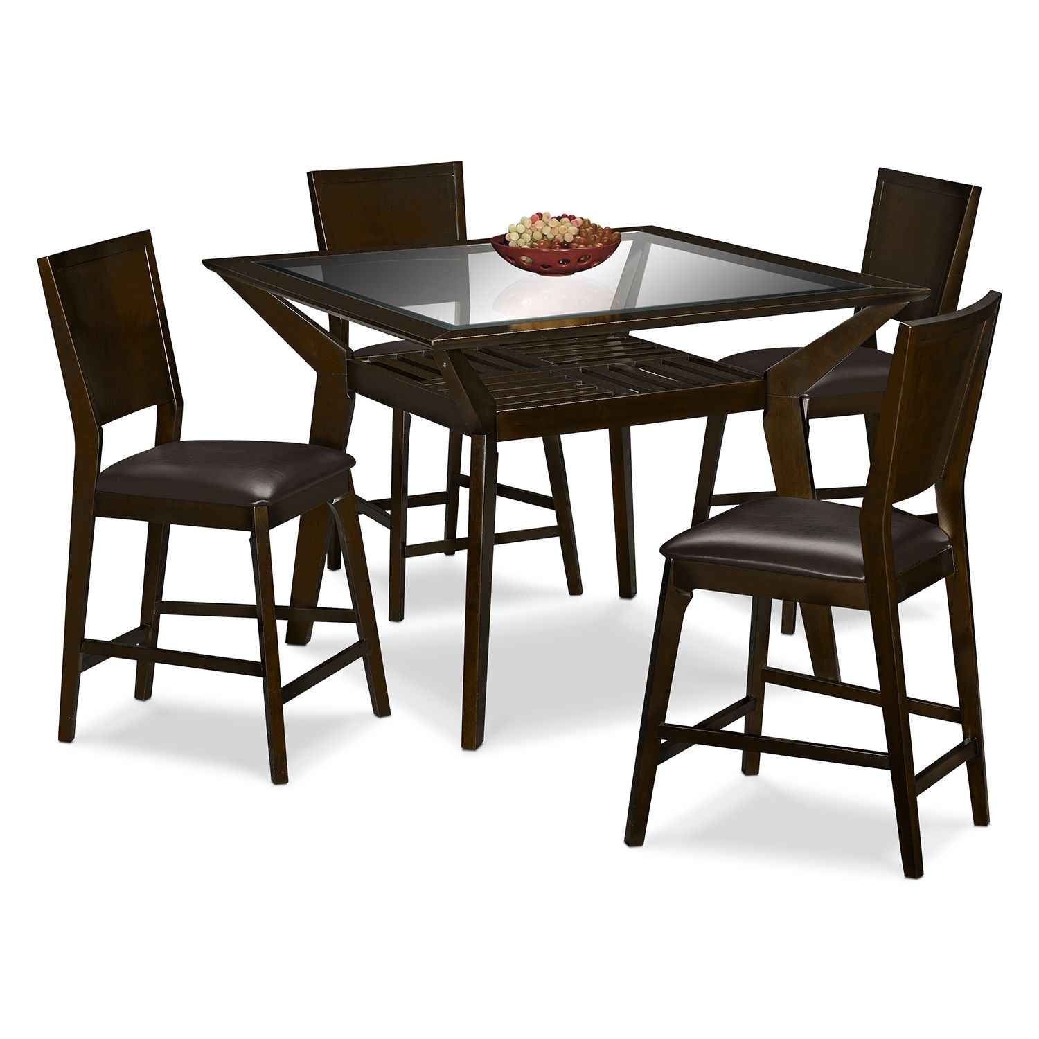 Dining Room Furniture Mystic Counter Height Table And 4 Chairs Merlot And Chocolate Dining Furniture Sets Dinette Sets Value City Furniture