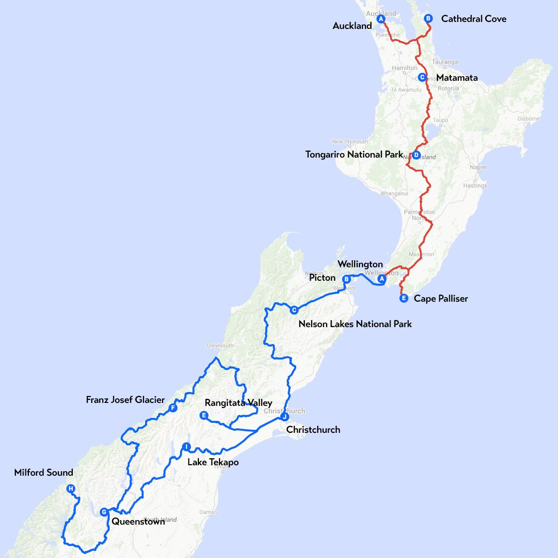 My OneMonth Travel Route Through New Zealand. New