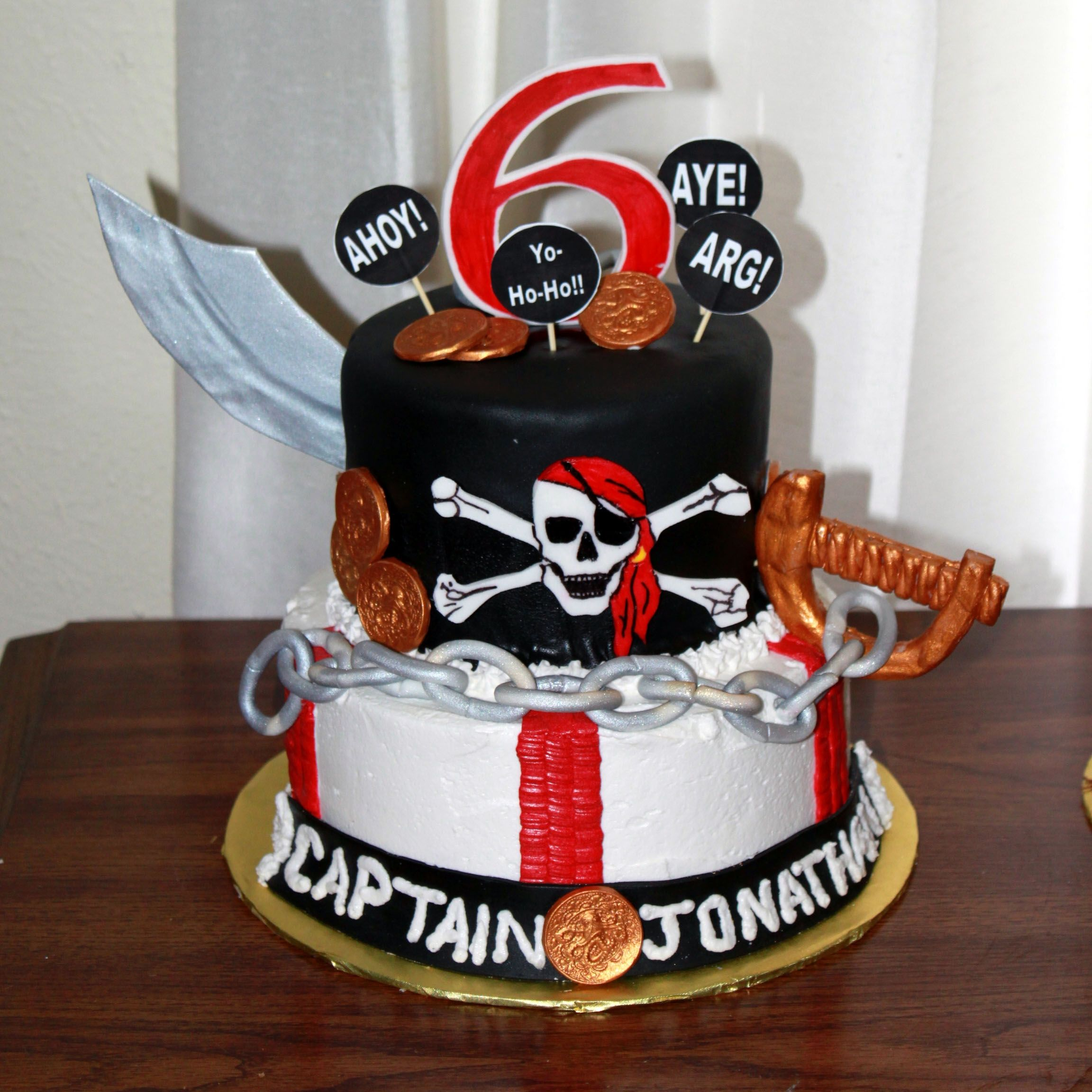 Captain Jonathan Pirate Themed Cake With Gumpaste Sword Number