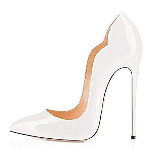 aae6f7b37ff4f2 Escarpins Femmes Chaussures Stiletto Soles Rouge Talon Aiguille Grande  Taille Laçage (41 EU Blanc)