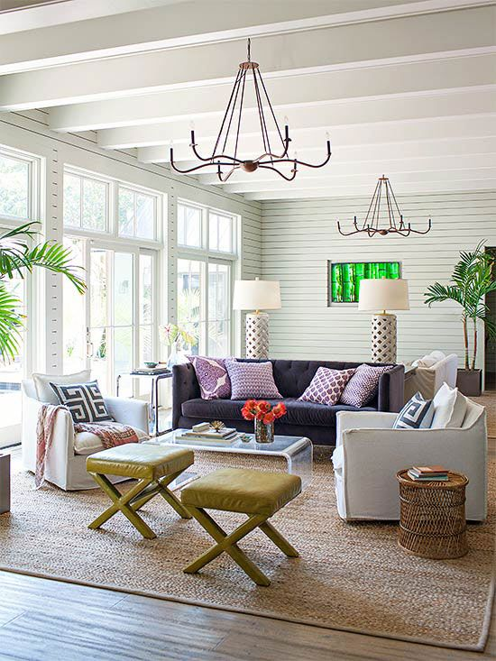 These homeowners created two seating areas in their grand living room for Living room with 2 seating areas