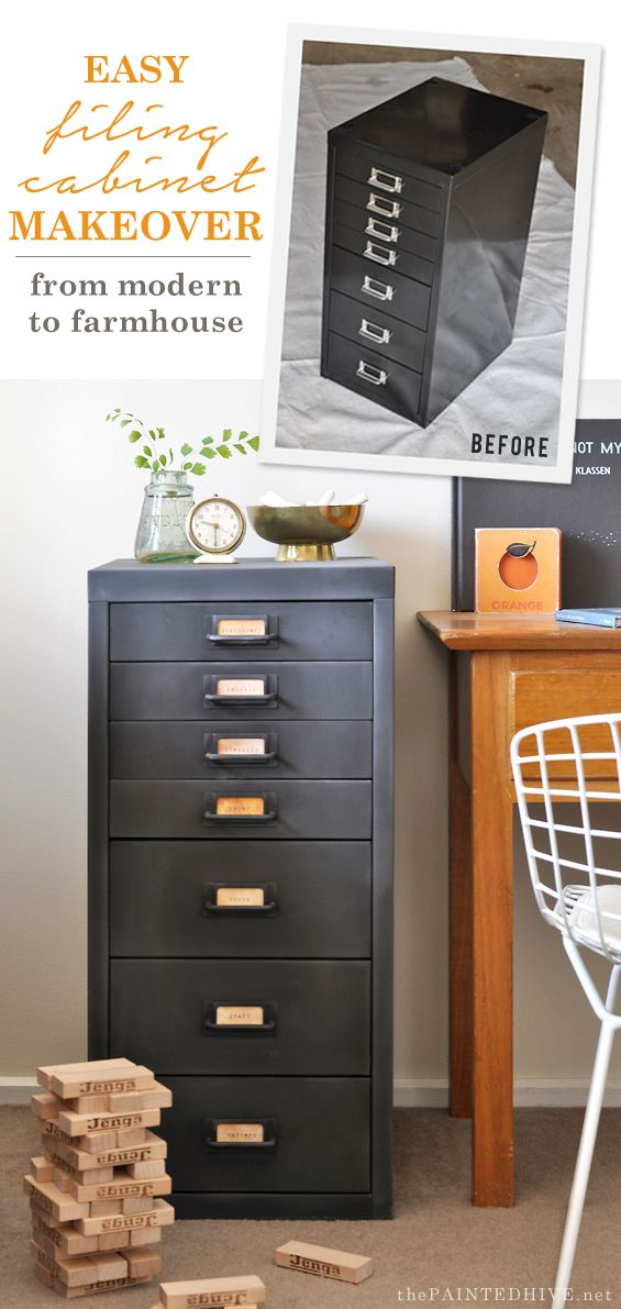 How to transform a metal file cabinet from modern to farmhouse ...