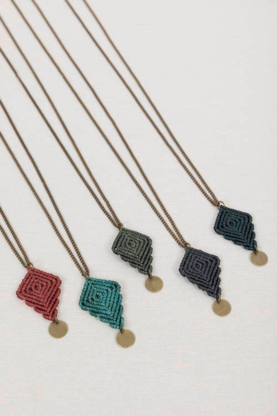 Photo of Macrame necklace, handmade jewelry, handmade macrame, geometric macrame