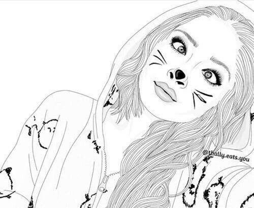 Pin De Eunice Em Outline Art Menina Tumblr Desenho