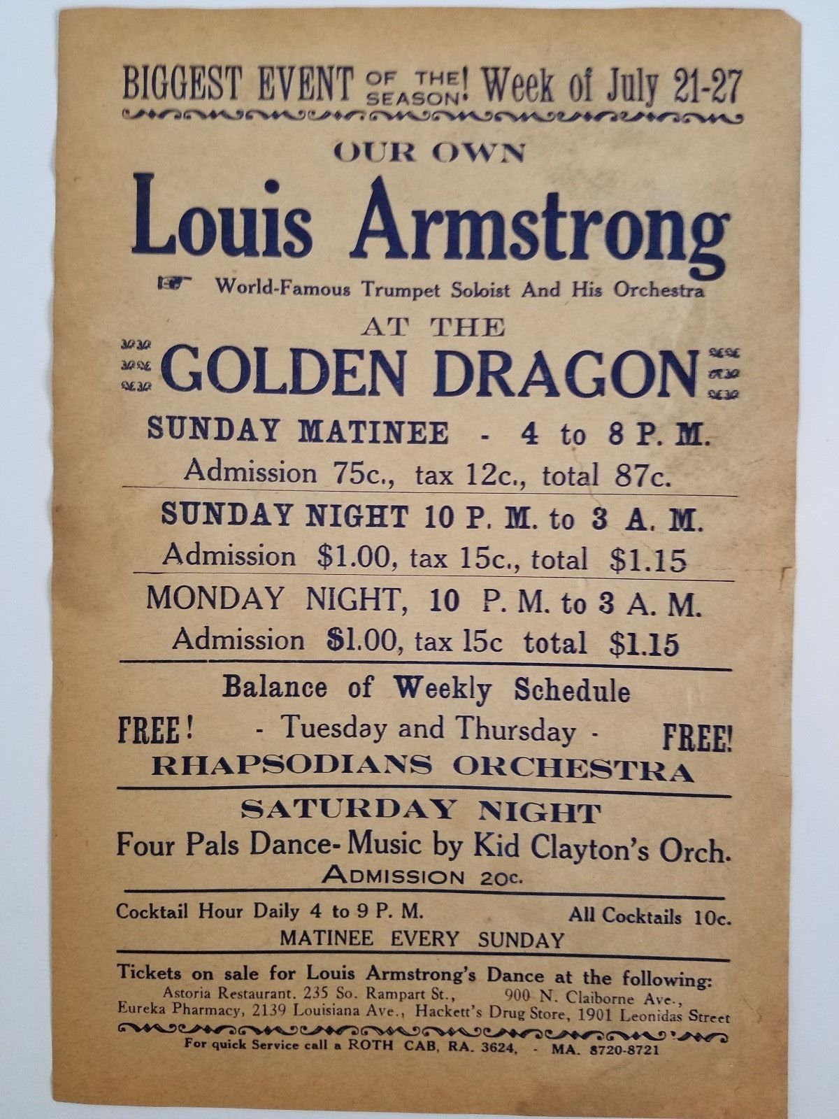 rare s louis armstrong concert handbill django reinhardt  original handbill from the early 1930 s louis armstrong performing at the golden