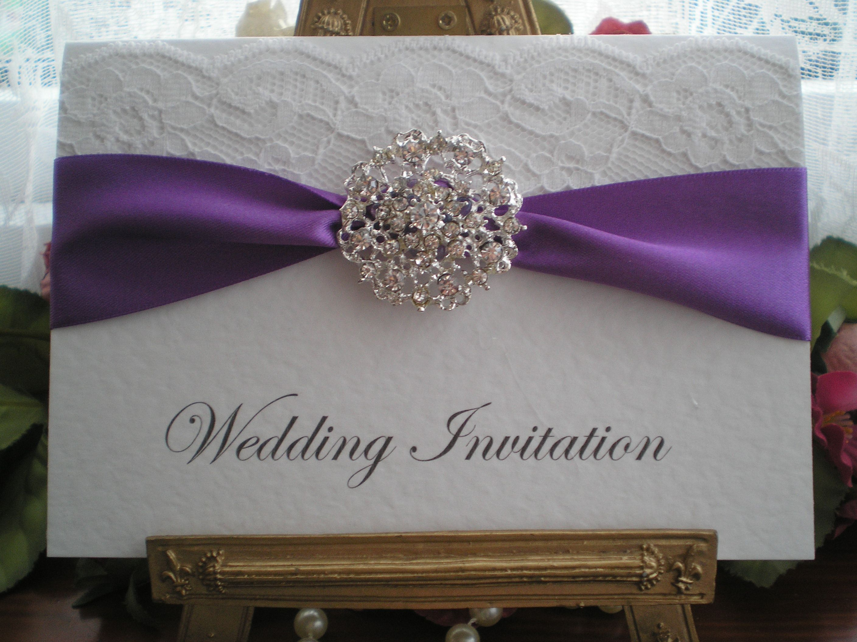R0018a Lace Purple Wedding Invitation Diamante Cluster | card ideas ...