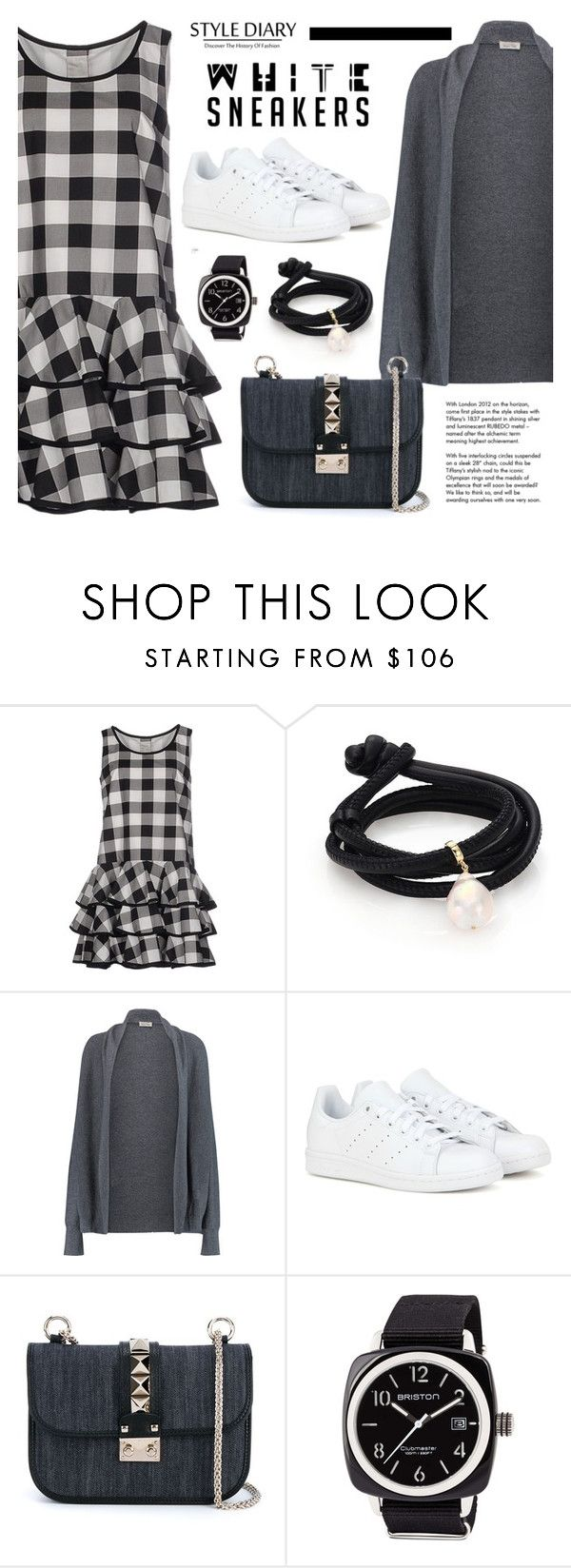 """Bright White Sneakers"" by cly88 ❤ liked on Polyvore featuring Dolce&Gabbana, mizuki, American Vintage, adidas, Valentino, Briston, Tiffany & Co., cardigan, watches and ruffles"