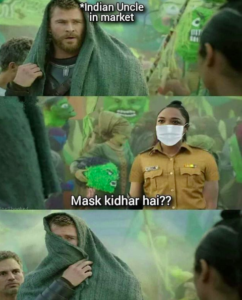 Indian Uncle In Market Using Mask
