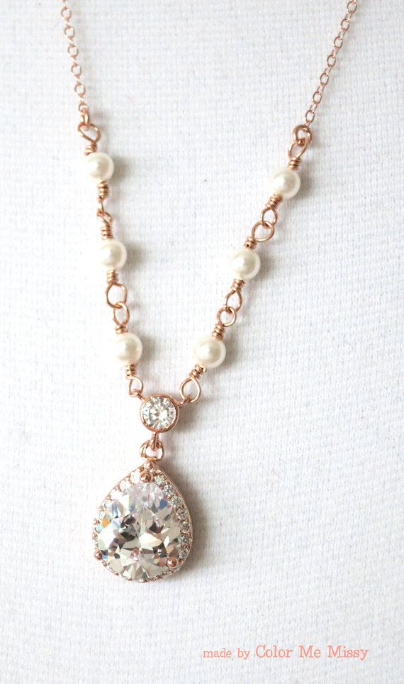 Rose Gold Luxe Cubic Zirconia Teardrop Necklace - Necklace, rose gold filled chain, bridal gifts, drop, dangle, Rose gold weddings, bride, www.colormemissy.com