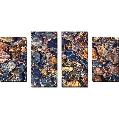 """PicturePerfectInternational """"Water Stones 9"""" 4 Piece Photographic Print on Wrapped Canvas Set"""