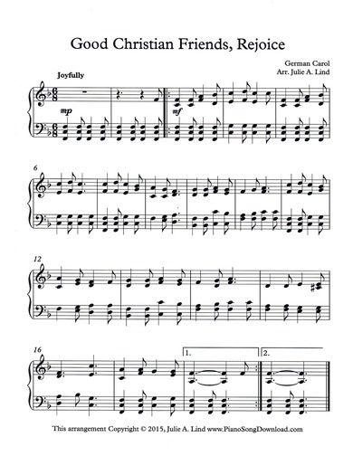 Free Christmas Sheet Music.Good Christian Friends Rejoice Free Christmas Piano Sheet