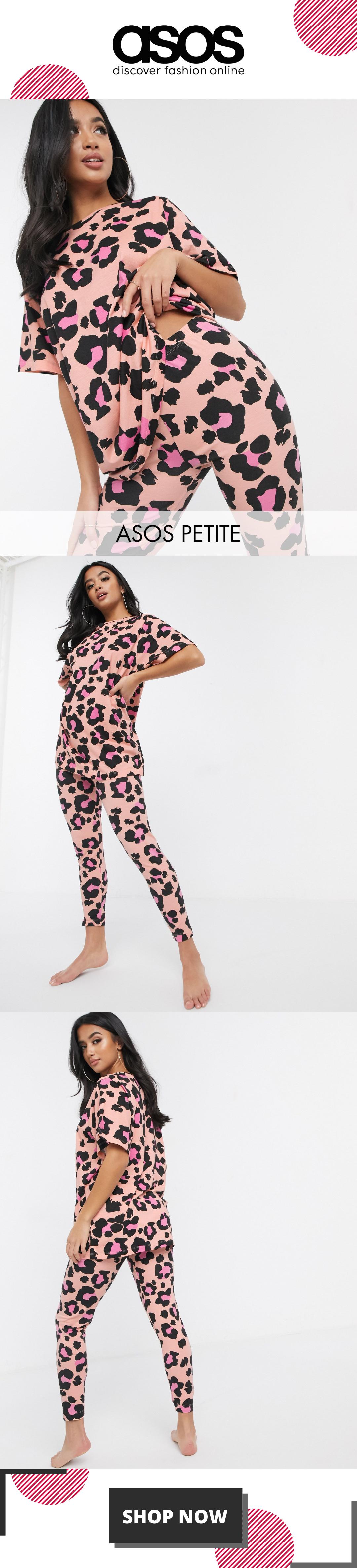 ASOS DESIGN Petite animal print t-shirt & legging set