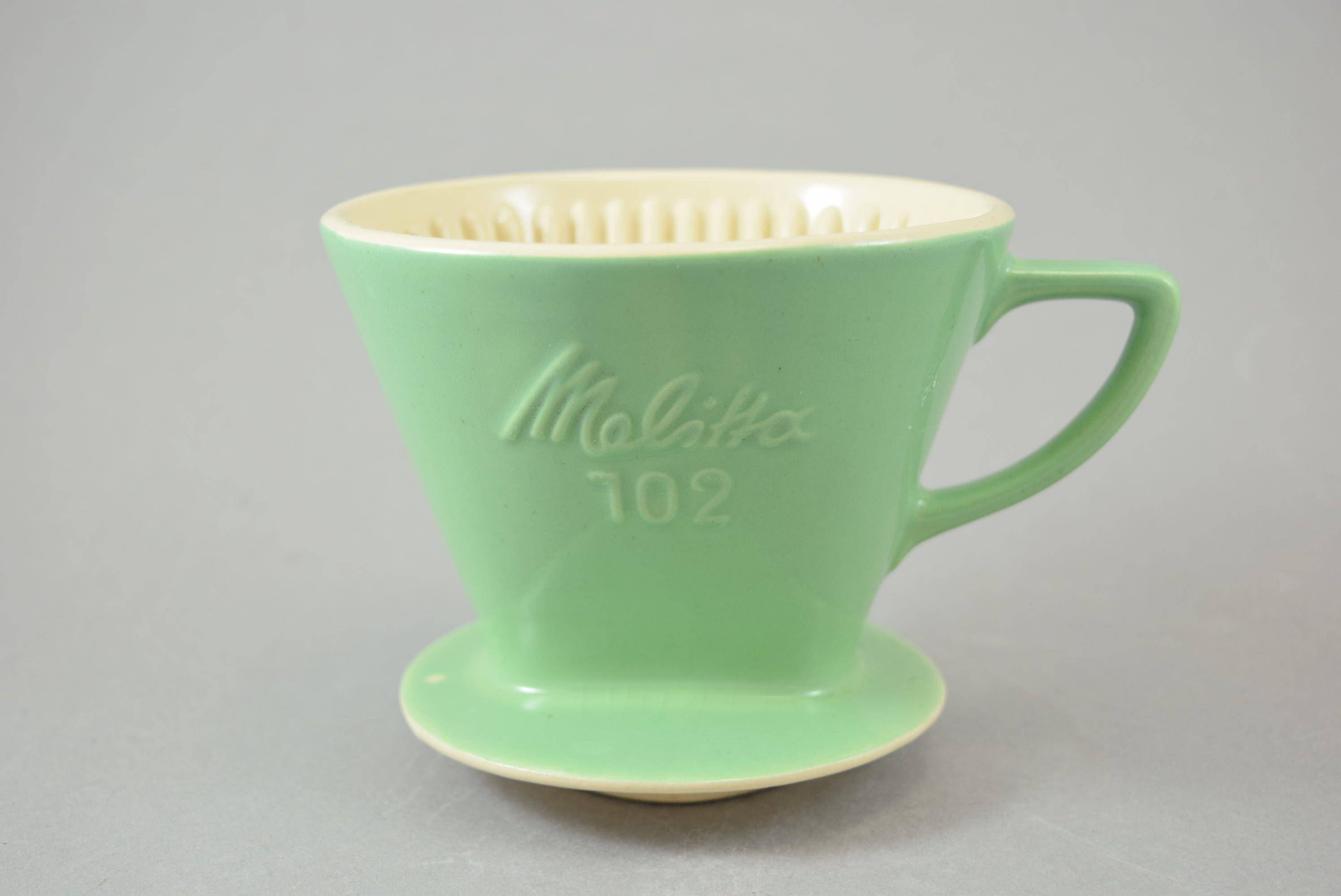 vintage melitta coffee filter 102 green mint mid century germany retro kitchen shabbrock on. Black Bedroom Furniture Sets. Home Design Ideas