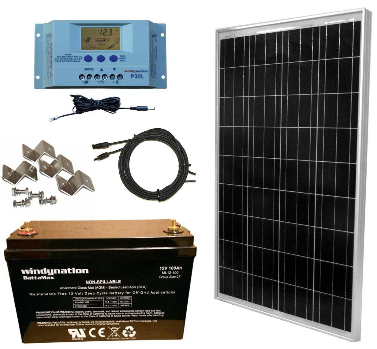 WindyNation 100 Watt Solar Panel Complete OffGrid RV Boat