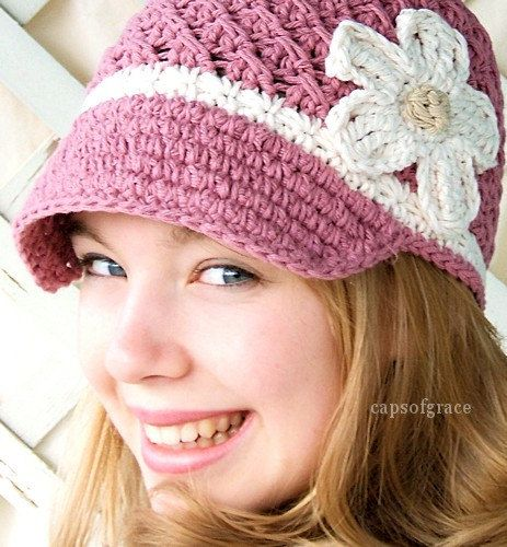 Crochet Hat Pattern Womans Daisy Visor Beanie PDF 150 Newborn to ...
