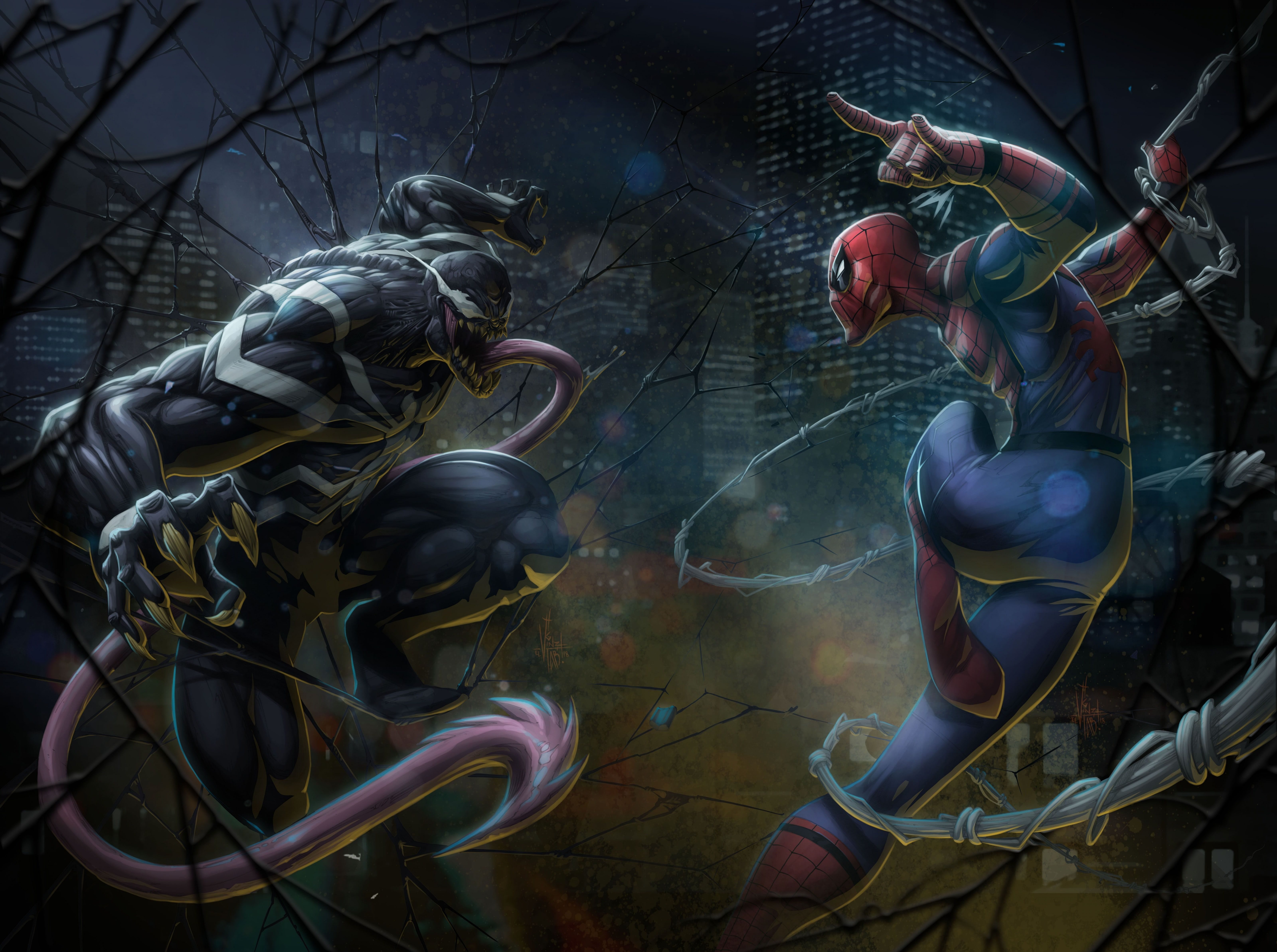 Marvel Comics Spider-Man vs Venom artwork #Artistic #Fantasy #Comics #Artwork #Superhero #Marvel #Spiderman #Venom #supervillain #5K #wallpaper #hdwallpaper #desktop