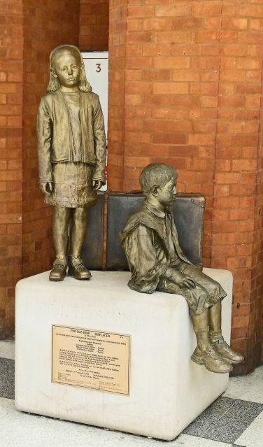 Today, the Kindertransport's life-line is commemorated at Liverpool Street by two sculptures.    The first, which is tucked away on the station's bustling concourse, was originally unveiled in 2003 and is dedicated to the Quakers, whose campaign was vital in instigating and implementing the Kindertransport.