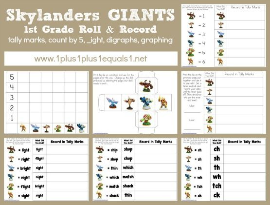 Skylanders Giants 1st Grade Printables Tally marks Skylanders and