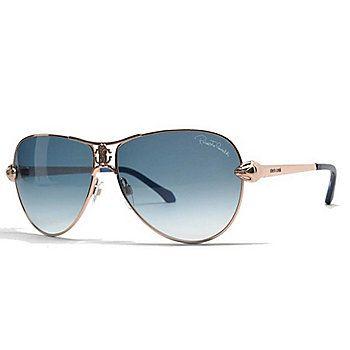 274ec1d76 Roberto Cavalli Blue Lens Gold-tone Aviator Frame Sunglasses w/ Case ...