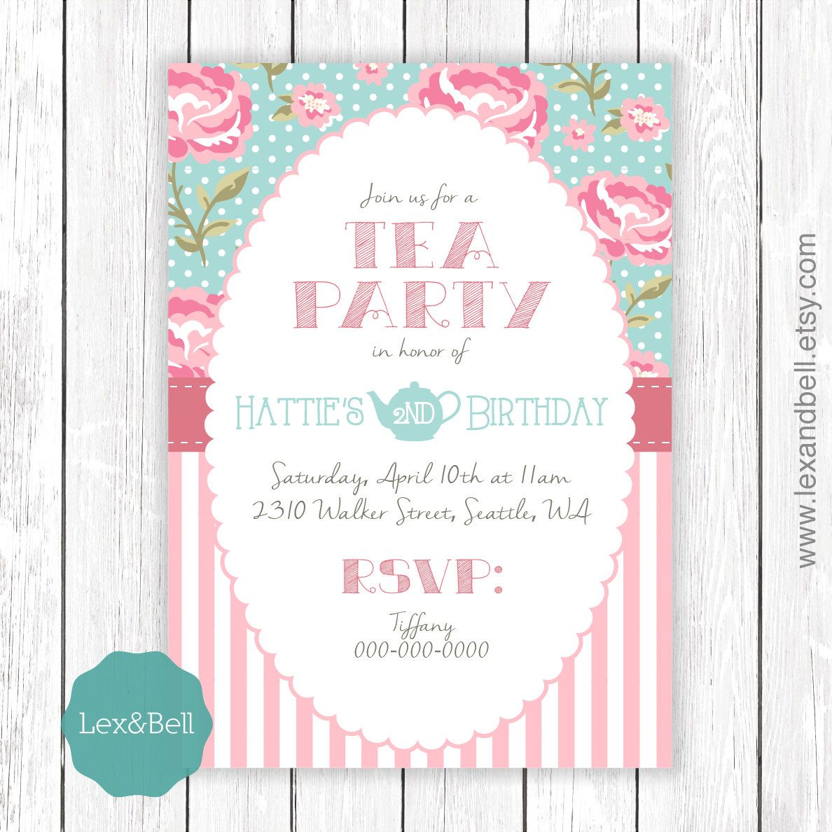 Shabby Chic Tea Party Birthday Invitation ANY AGE by LexAndBell on ...