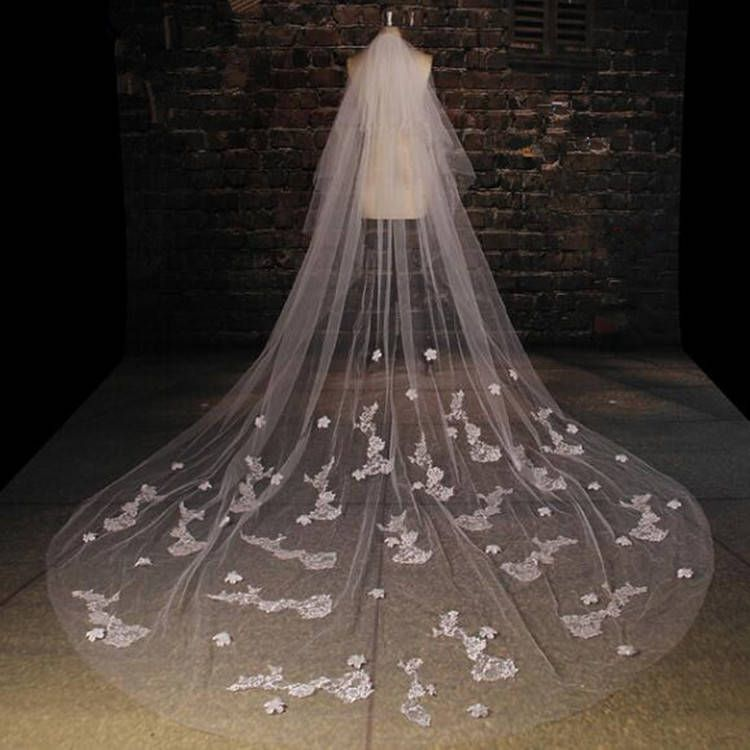 Bridal VeilLong Lace Veil Wedding VeilMaking Custom Length 35m 4m 5m