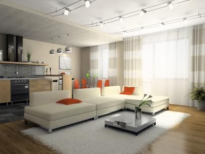A modern room showcasing contemporary track lighting White sofa - kuhfell wohnzimmer modern