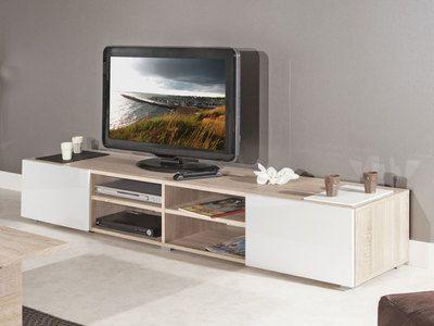 Meuble TV 4 niches 2 tiroirs en bois L185xP42xH31cm GLOSSY ...