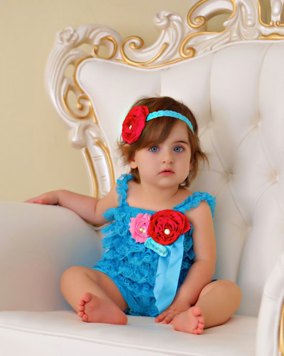 31f0f63523c5 Lace Petti Romper - Baby Romper - Turquoise with Pink Embellishments ...