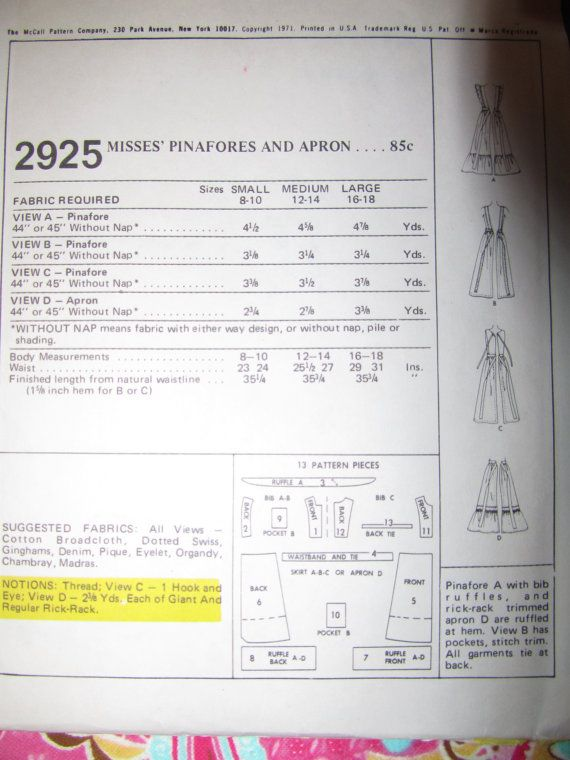 Vintage Sweet 70's PINAFORE and  APRON PATTERN